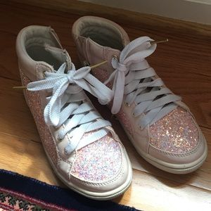 Justice Pink Glitter High Top Sneakers